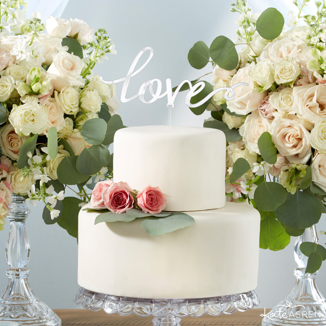 Silver Mirror Love Cake Topper | 12 Must Have Accents for a Whimsical Wedding | Kate Aspen