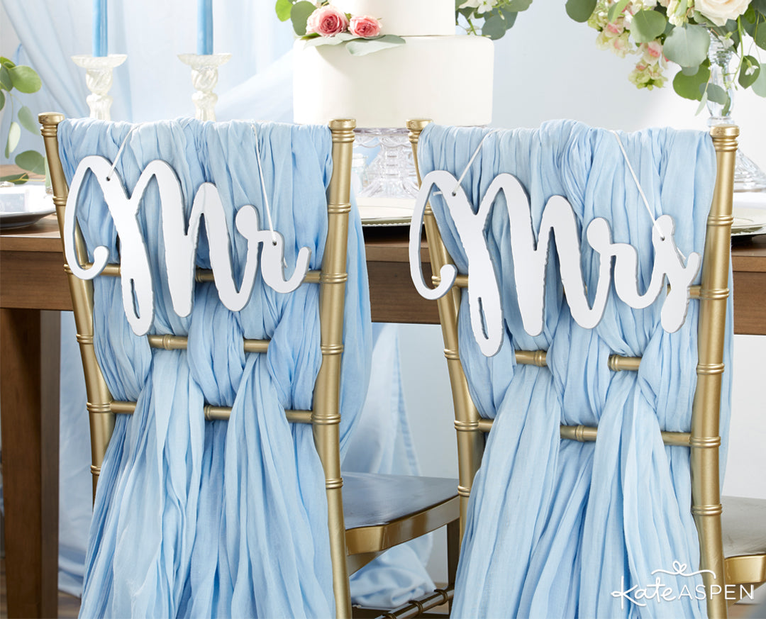 Silver Mirror Mr. and Mrs. Chair Signs | 12 Must Have Accents for a Whimsical Wedding | Kate Aspen