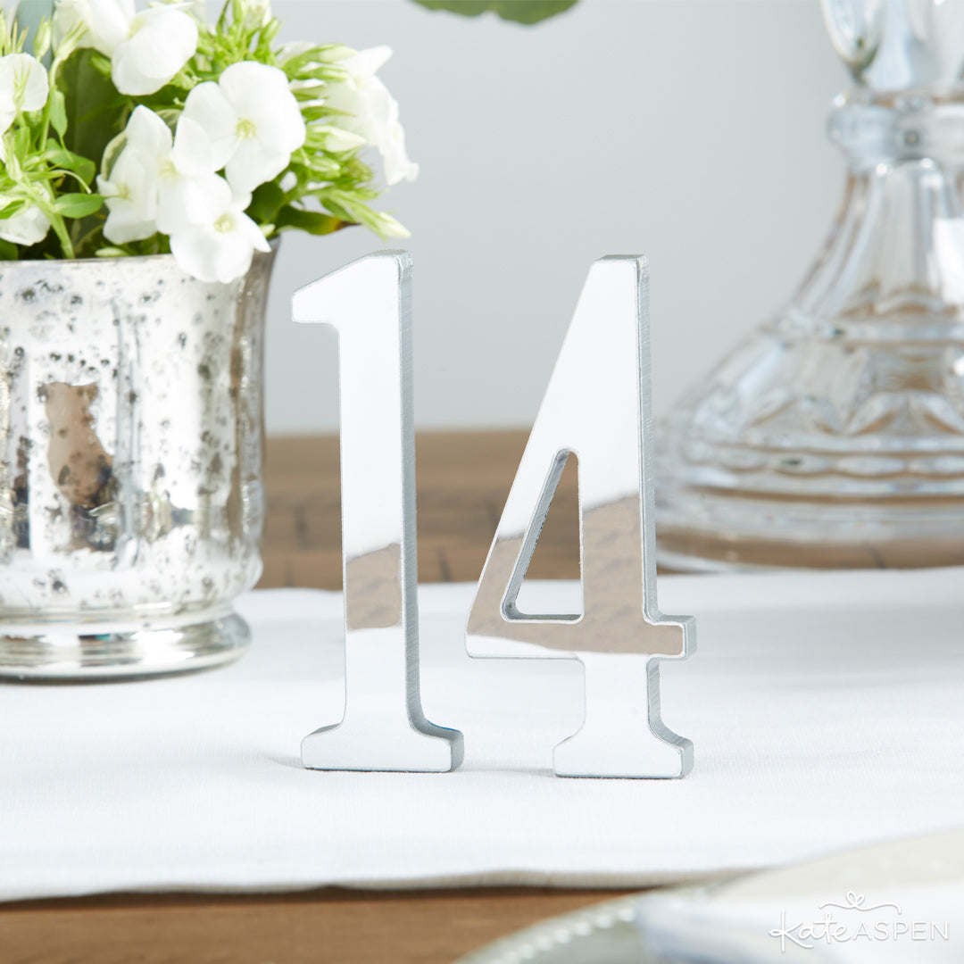 Silver Mirror Table Numbers 13-18 | 12 Must Have Accents for a Whimsical Wedding | Kate Aspen