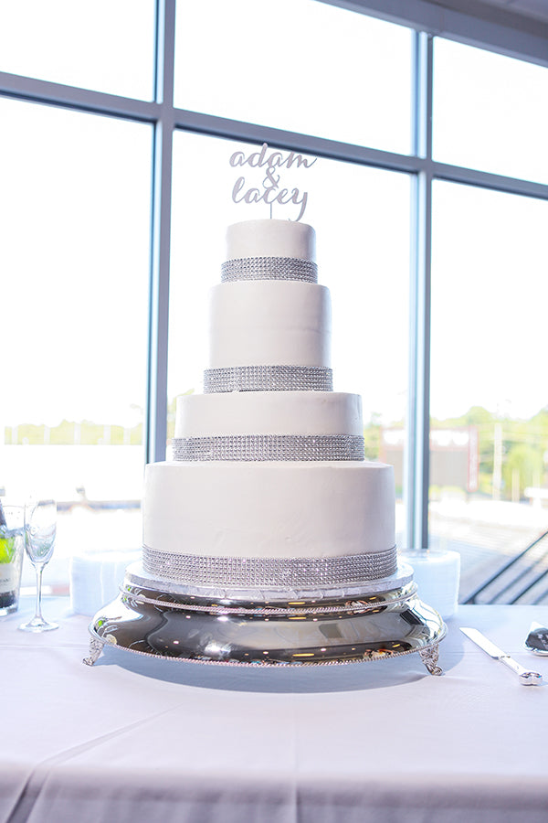 A Gorgeous Four-Tiered White and Silver Wedding Cake | Wes Roberts Photography