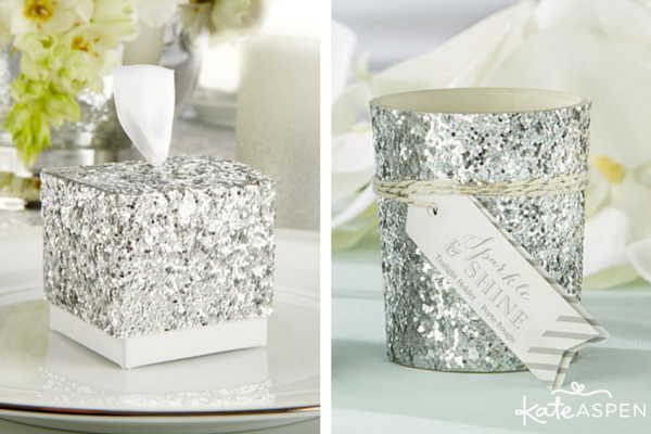 Silver glitter favor box and votive Kate Aspen with watermark