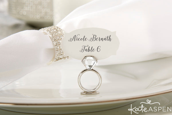 With This Ring Jeweled Place Card/Photo Holder | Kate Aspen | kateaspen.com