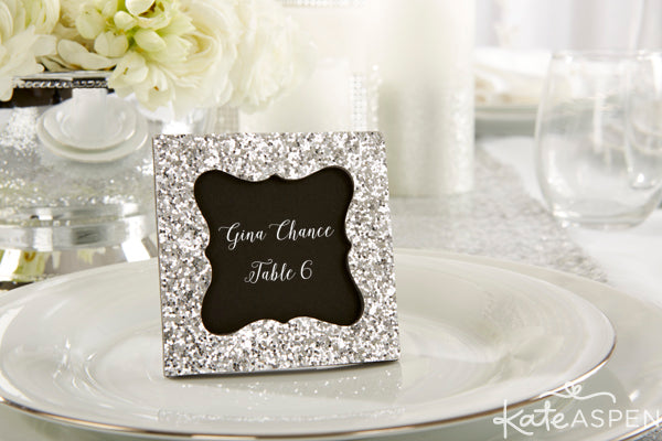 Silver Glitter Frame | Place Card Holder | Kate Aspen | kateaspen.com