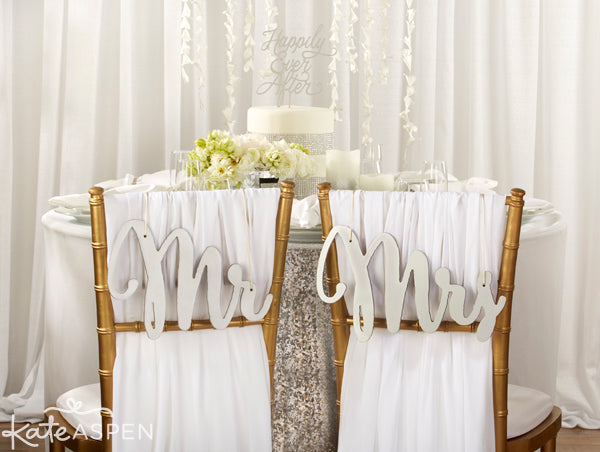 Silver Shimmer Classic Mr. and Mrs. Chair Backers | Wedding Chair Signs | Kate Aspen | kateaspen.com