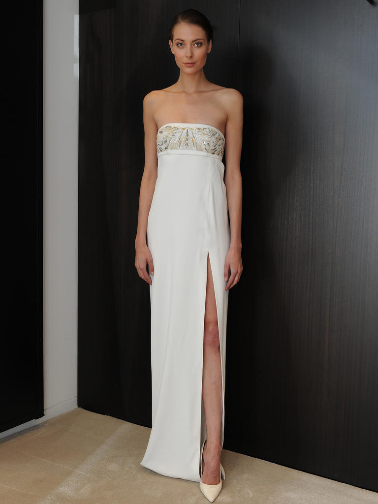 Sleek Wedding Dress with Slit | J. Mendel via The Knot