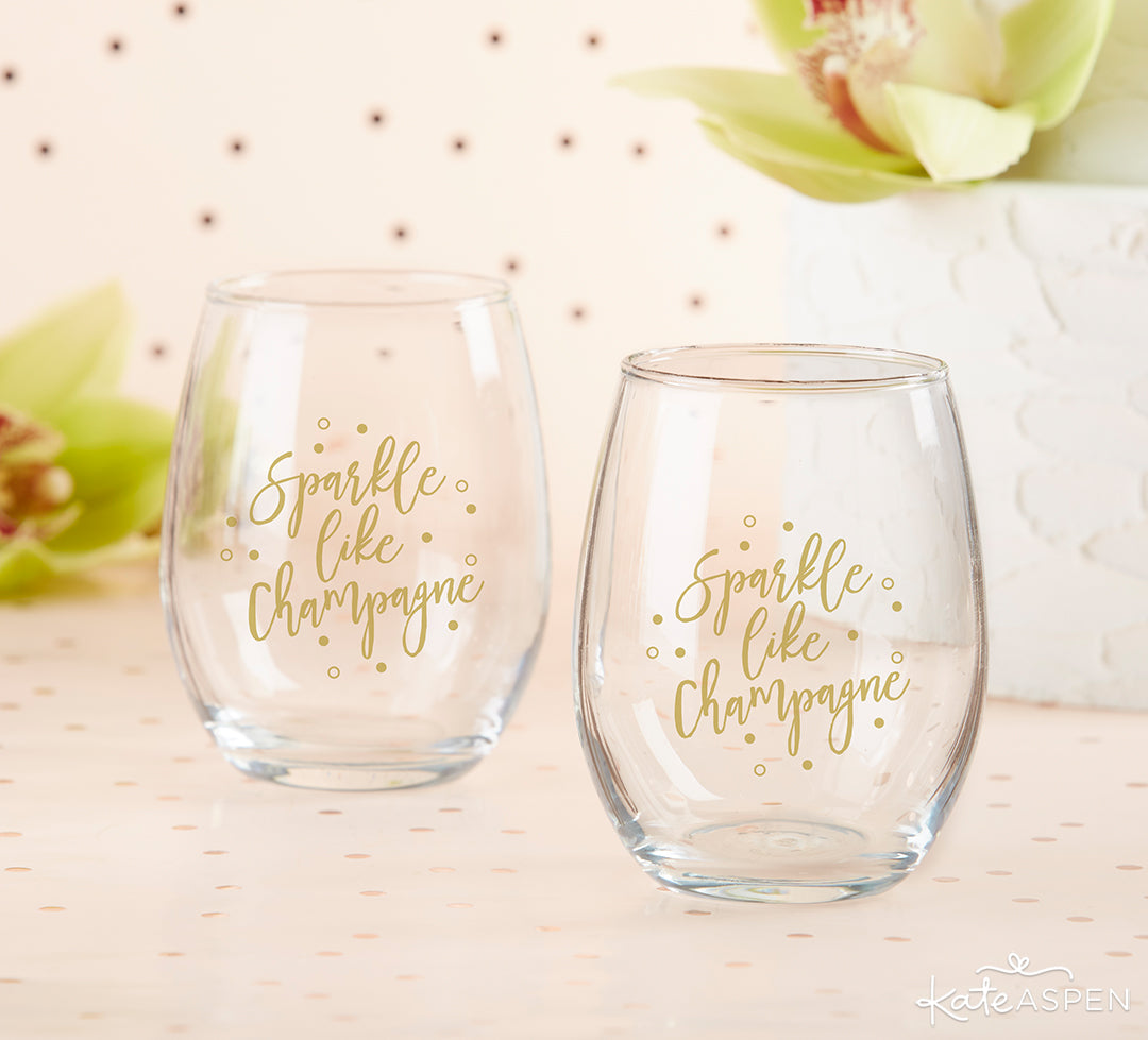 Sparkle Like Champagne Stemless Wine Glasses | 8 Gifts Under $25 to Get Your Sweetheart for Valentine's Day | Kate Aspen