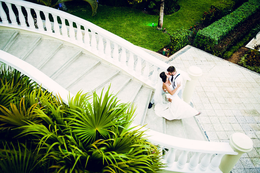 Staircase Kiss | A Destination Wedding Weekend in Mexico | Kate Aspen