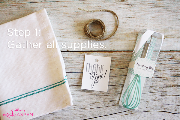 Step 1 Gather All Supplies | DIY Kitchen Bridal Shower Whisk and Towel Favors | Kate Aspen