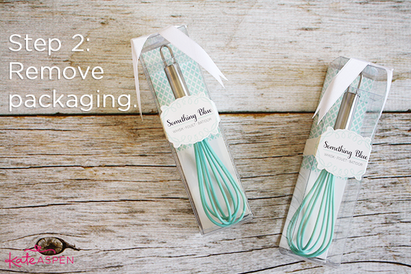 Step 2 Removing Packaging | DIY Kitchen Bridal Shower Whisk and Towel Favors | Kate Aspen