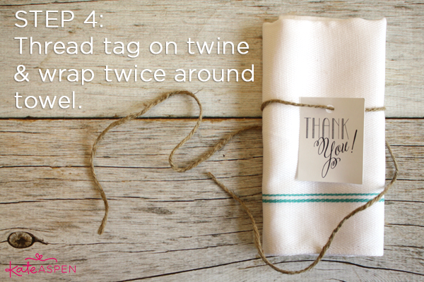 Step 4 Add Tag | DIY Kitchen Bridal Shower Whisk and Towel Favors | Kate Aspen