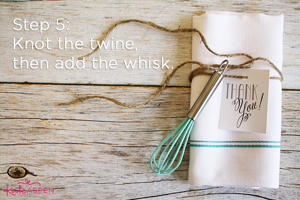 Step 5 Add Whisk | DIY Kitchen Bridal Shower Whisk and Towel Favors | Kate Aspen