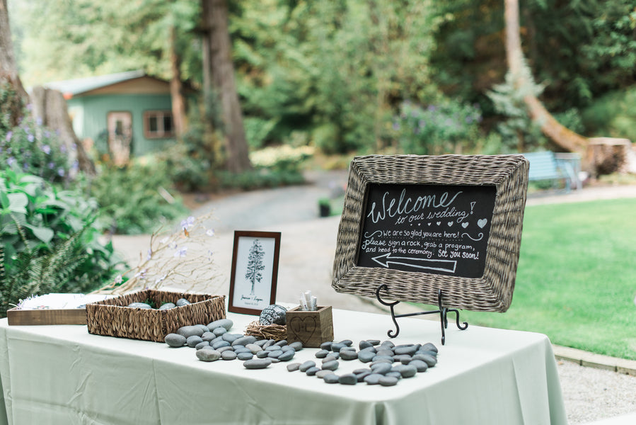 Stone Guestbook | Blissful Garden Wedding Details | B. Jones Photography