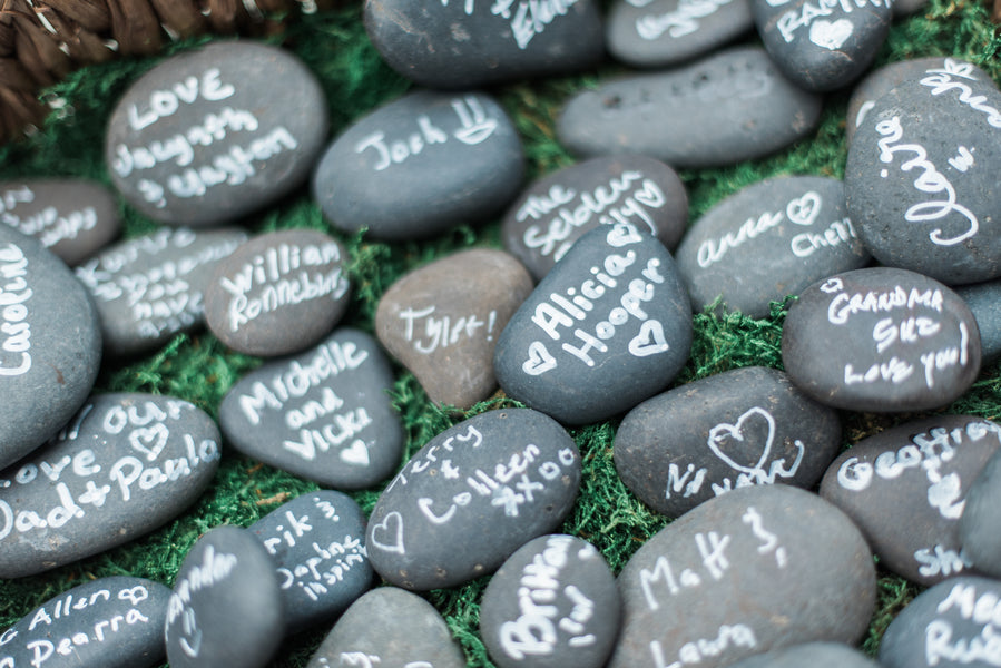 Stones Signed By Guests | Blissful Garden Wedding Details | B. Jones Photography