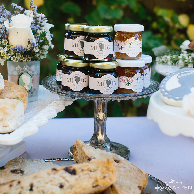 Personalized Jam Wedding Favors | English Garden Bridal Shower | Kate Aspen