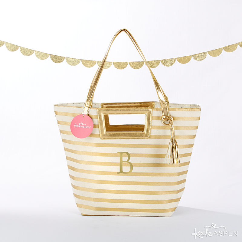 Gold Striped Tote Bag | KateAspen.com