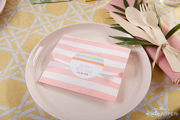 Tropical Themed Striped Paper Favor Bags  | @kateaspen | KateAspen.com
