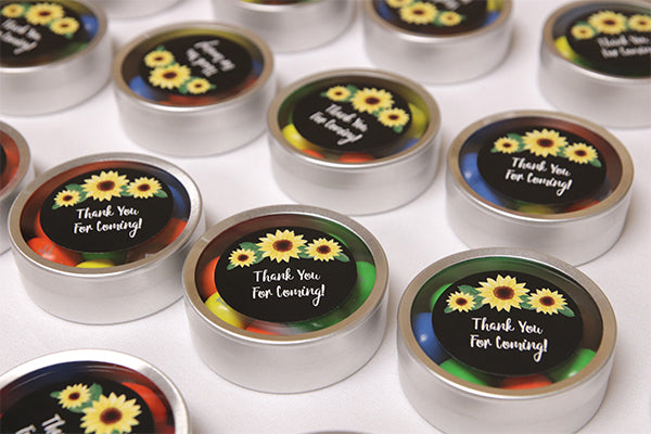 Sunflower Silver Round Candy Tins | A Sunflower Baby-Q Celebration | Kate Aspen
