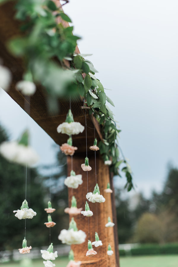 Suspended Flowers in Archway | Boho Wedding Inspiration | B. Jones Photography
