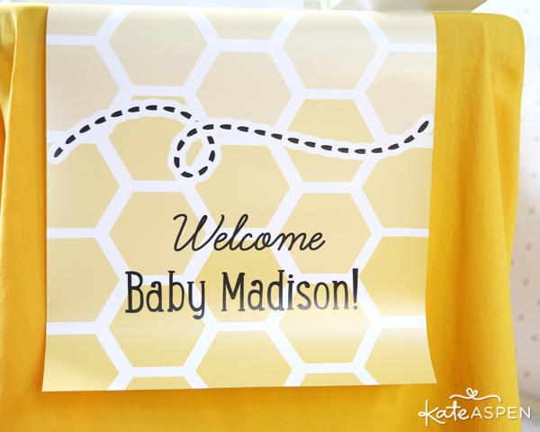 Customized Bee Table Banner | Sweet As Can Bee Baby Shower by Kate Aspen | Photography & Styling: Pizzazzerie