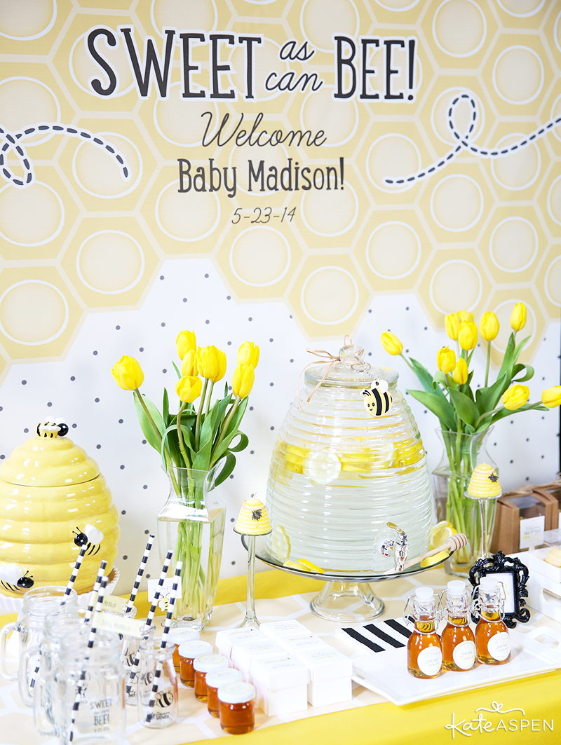 Dessert and Treat Table | Sweet As Can Bee Baby Shower by Kate Aspen | Photography & Styling: Pizzazzerie