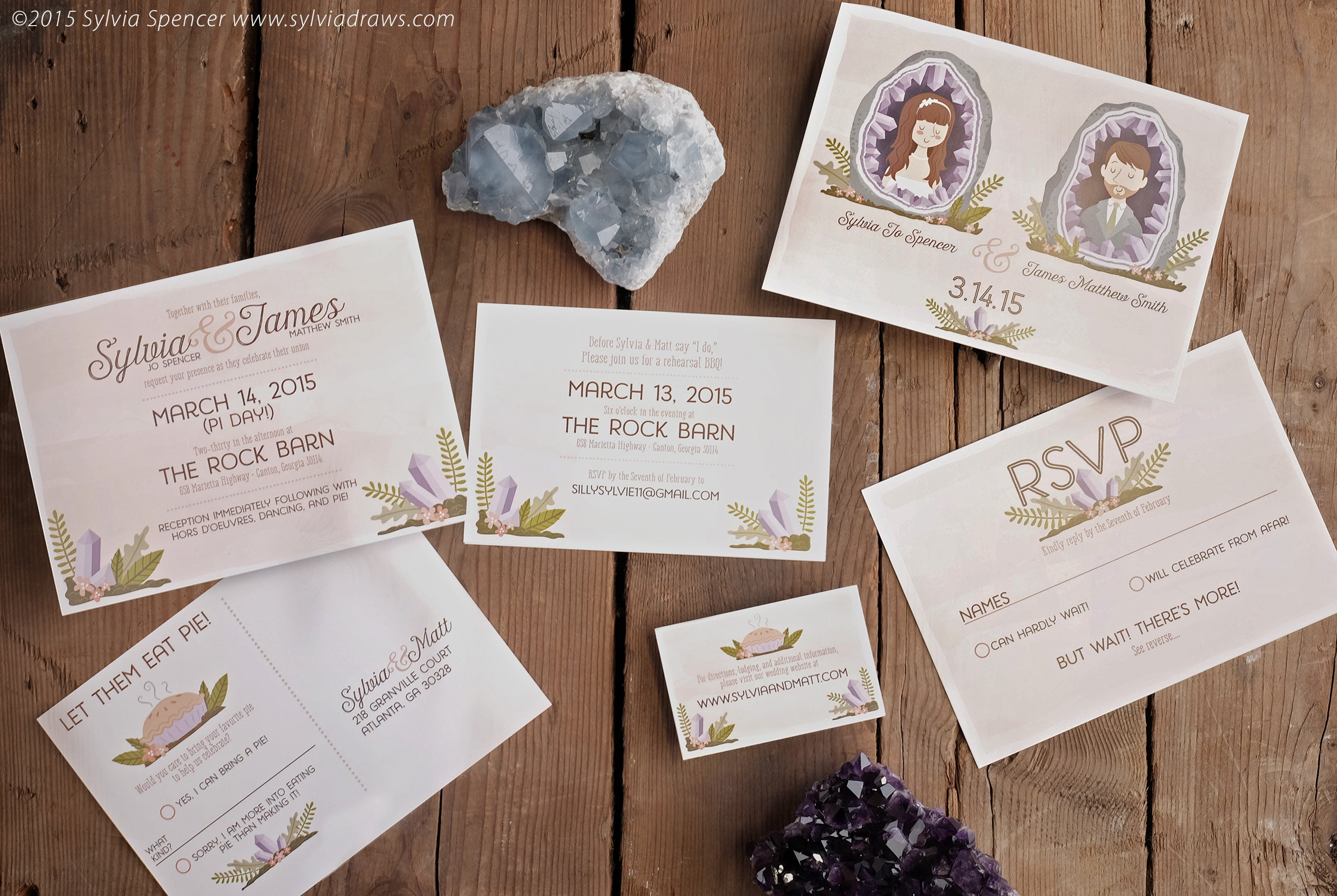Sylvia Spencer - Geode Wedding Invitations