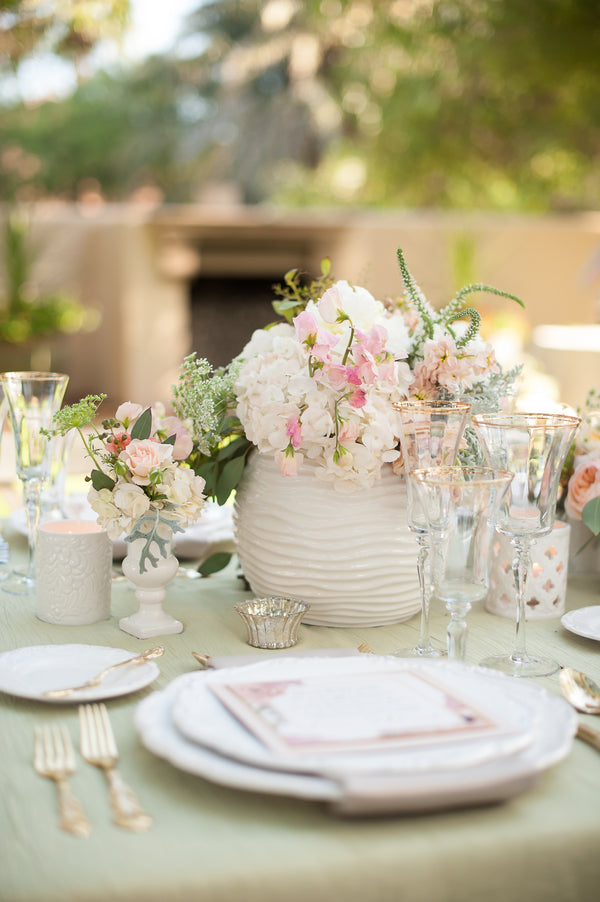 Floral Table Centerpieces  | Gorgeous Garden Wedding Shoot | Leslie Ann Photography | @kateaspen