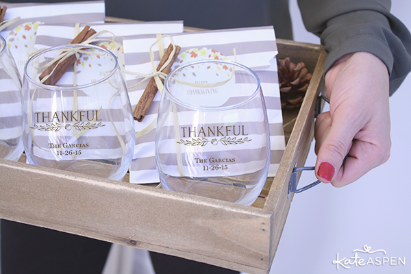 DIY Thanksgiving Mulling Spice Favors and Customized Wine Glasses on a Tray | @KateAspen