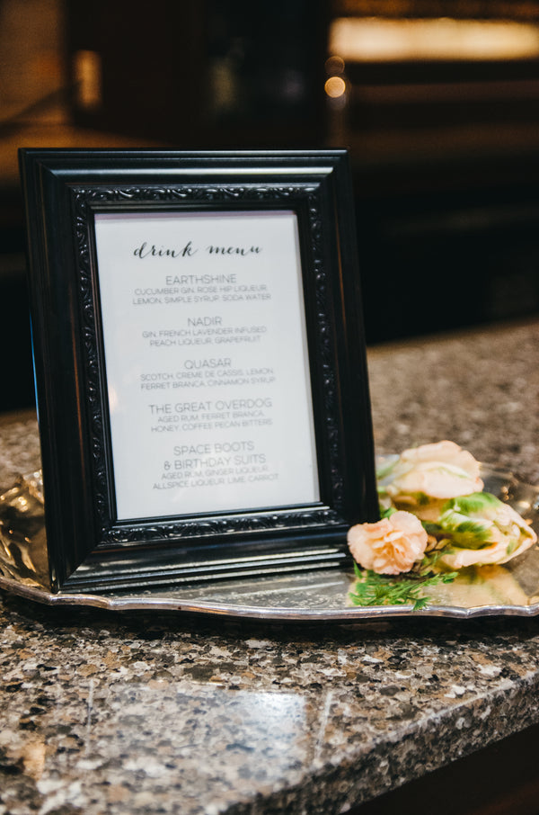 Cocktail Menu | Our of This World Inspiration for a Starry Night Wedding | Kate Aspen