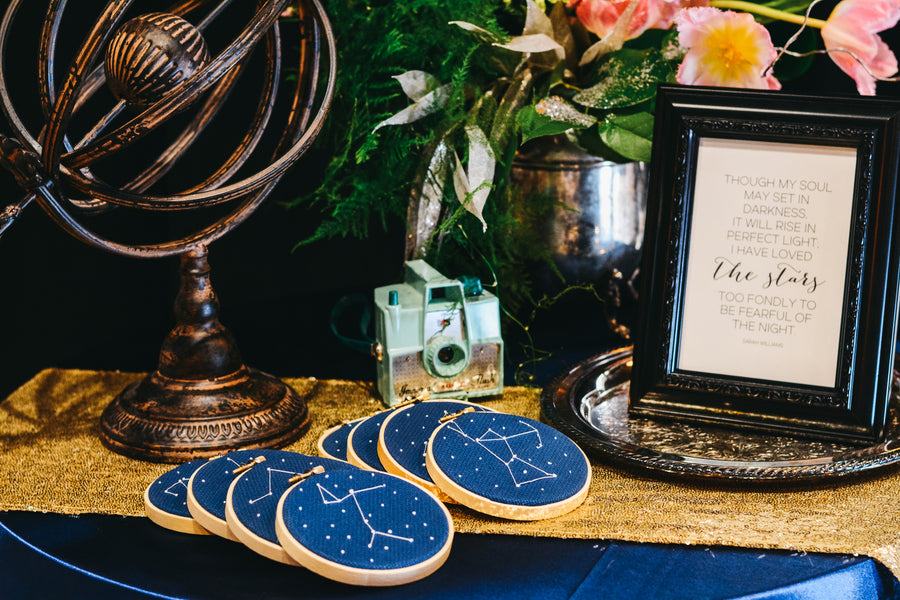 Cross Stitch | Our of This World Inspiration for a Starry Night Wedding | Kate Aspen