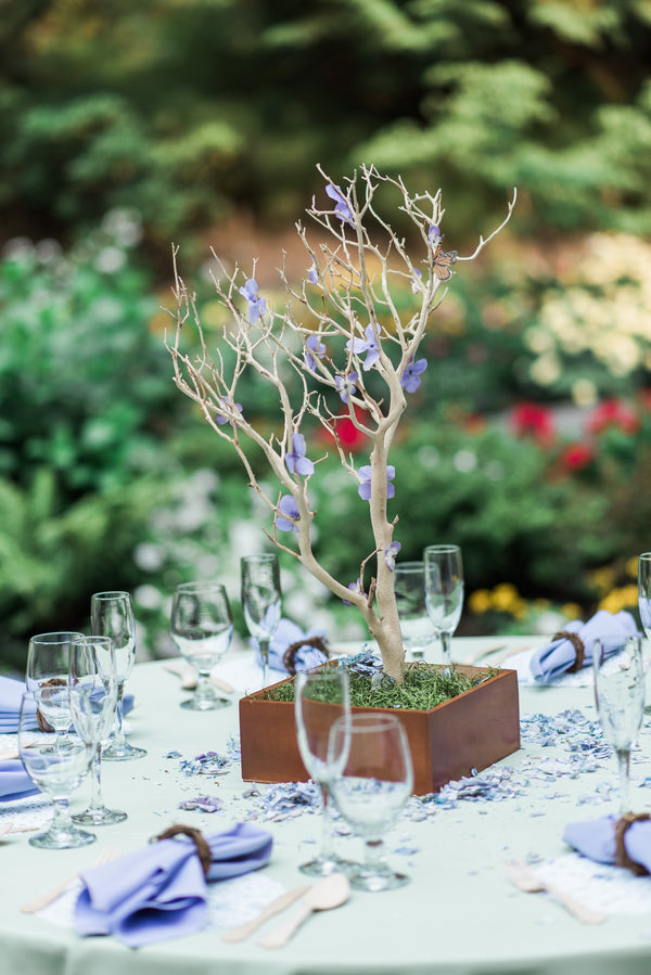 Tree Reception Table Centerpieces | Blissful Garden Wedding Details | B. Jones Photography
