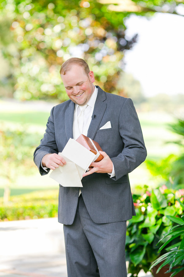 Groom with Gifts | Pink Wedding in Florida | Claudette Montero Photography