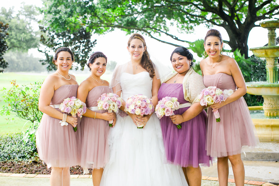 Bride and Bridesmaids in Purple | Pink Wedding in Florida | Claudette Montero Photography