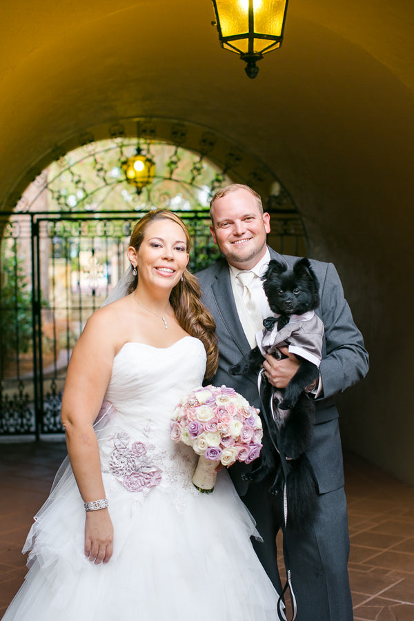 Bride & Groom with Dog | Pink Wedding in Florida | Claudette Montero Photography