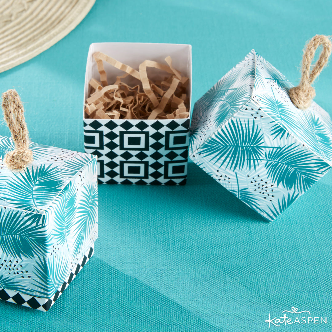 Tropical Chic Palms Favor Box | 7 Chic Favors for a Tropical Wedding | Kate Aspen