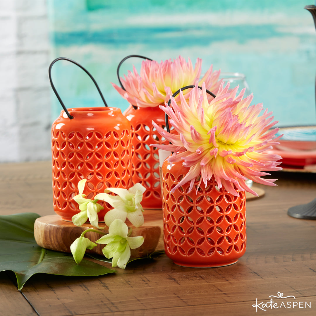Tropical Chic Ceramic Cutout Lantern | 7 Chic Favors for a Tropical Wedding | Kate Aspen