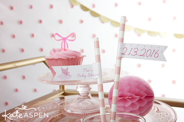 Tutu Cute Baby Shower Paper Straws and Flags | Kate Aspen