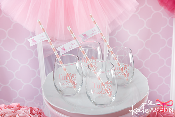 Tutu Cute Baby Shower Stemless Wine Glasses and Paper Straws with Flags | Kate Aspen