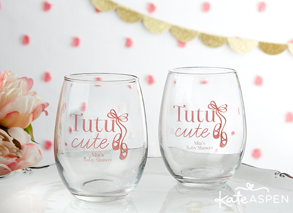 Tutu Cute Baby Shower Stemless Wine Glasses | Kate Aspen
