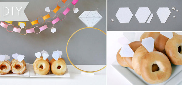 Diamond Ring Donuts | DIY | Brunch Bridal Shower Ideas | blog.kateaspen.com | Bridal Shower Inspiration | #kateaspen #bridalshower #diamonddonuts