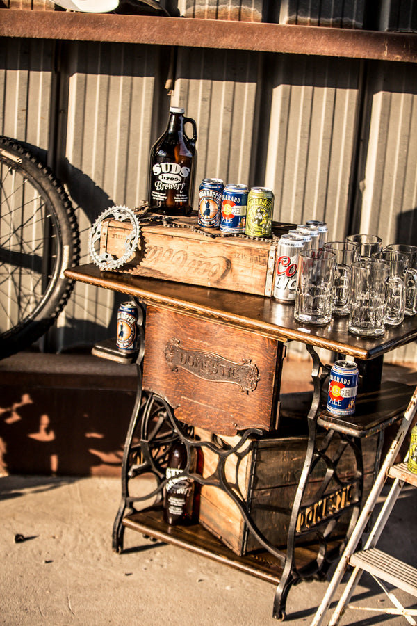 Vintage Display for Beer | Mountain Bike Industrial Themed Wedding Shoot | Lifestyle Photography
