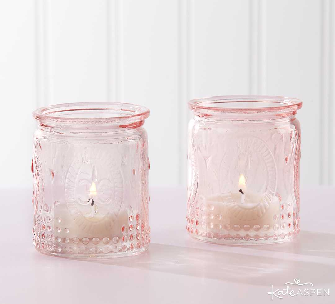 Vintage Pink Glass Tea Light Holder | Curate Your Own Bridesmaid Proposal Kit + A Giveaway | Kate Aspen