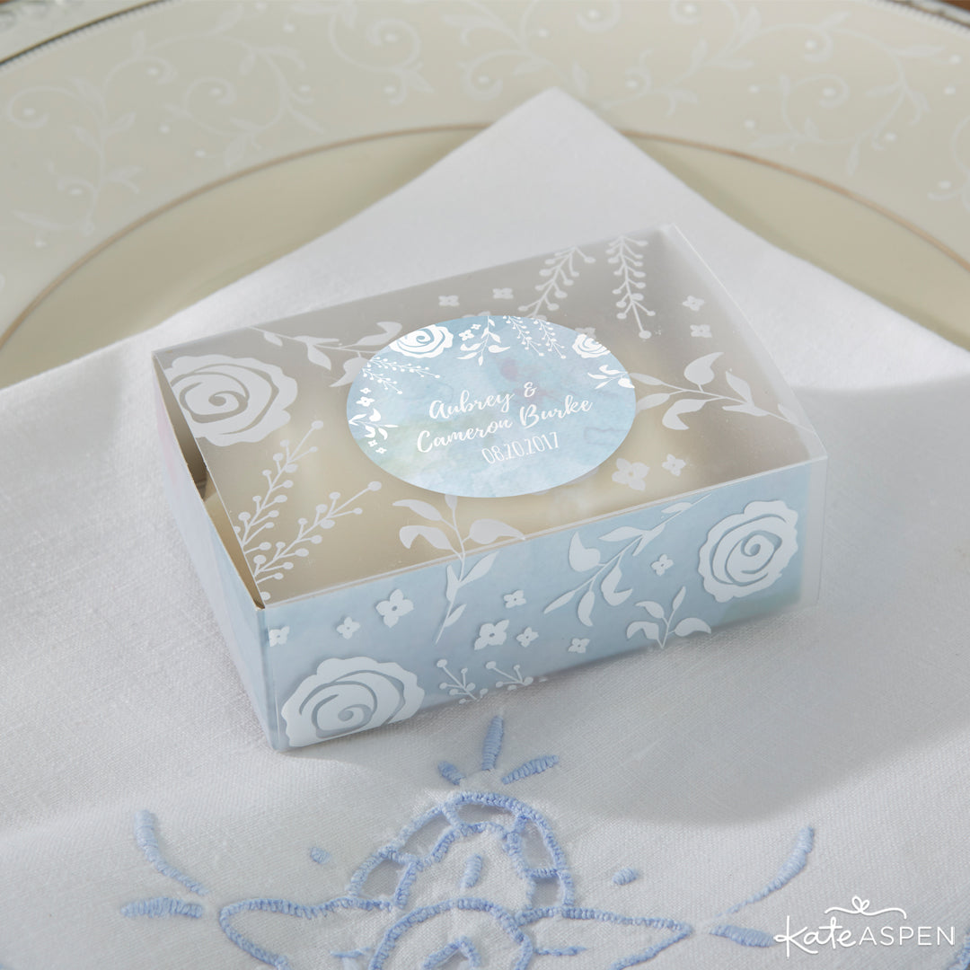 Watercolor Frosted Floral Slide Favor Box | 12 Must Have Accents for a Whimsical Wedding | Kate Aspen