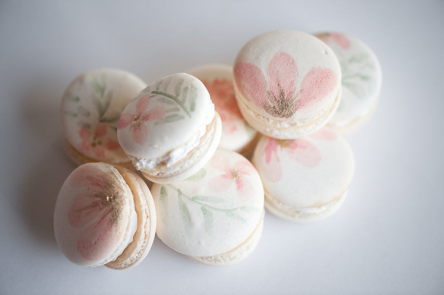 Watercolor Painted Macarons  | Gorgeous Garden Wedding Shoot | Leslie Ann Photography | @kateaspen