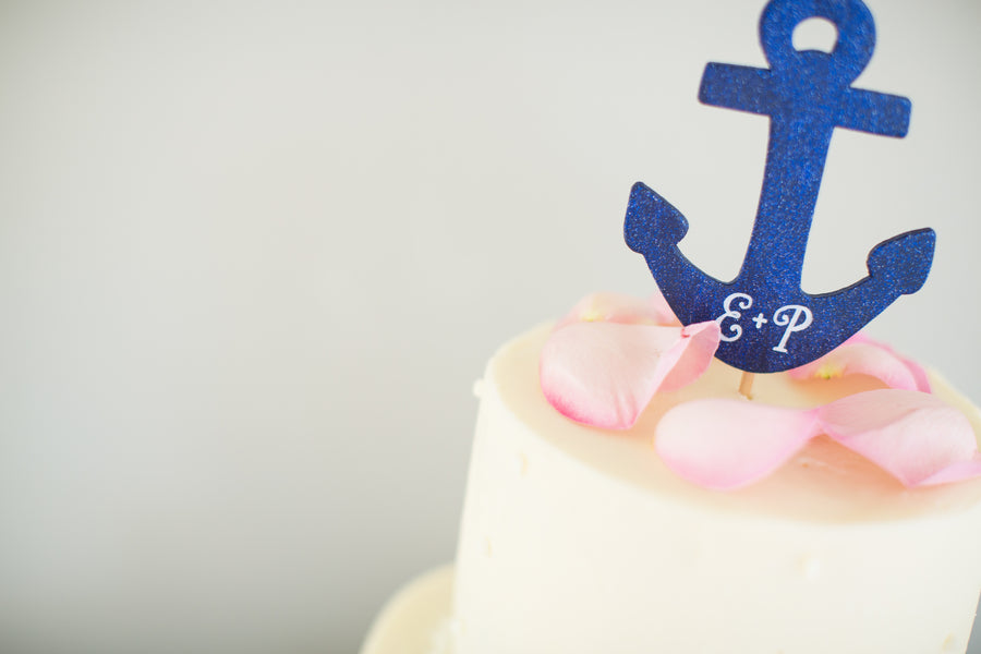 Wedding Cake Anchor Topper | Nautical Wedding On A Boat | Jeramie Lu Photography