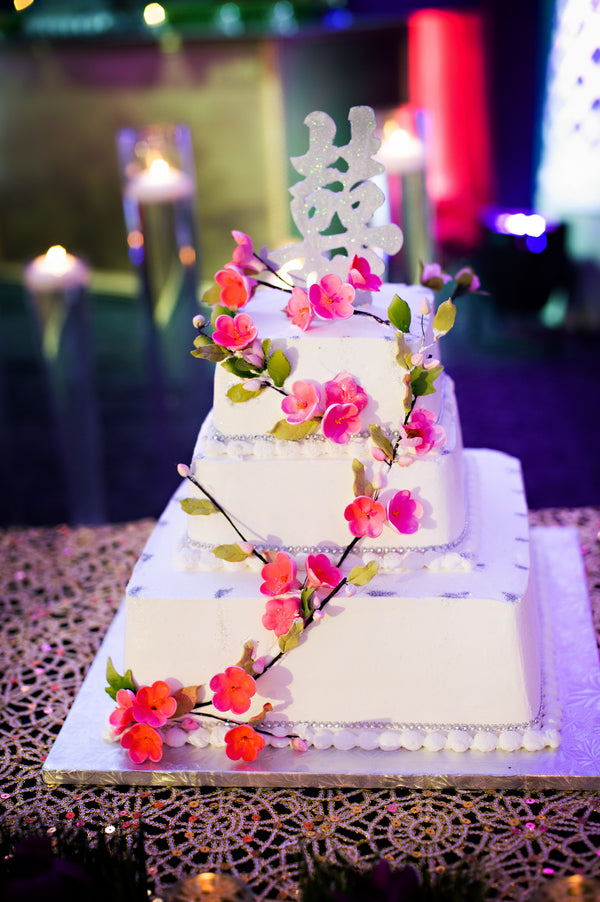 Wedding Cake With Pink Blossoms | Hindu Chinese Wedding | HRM Photography