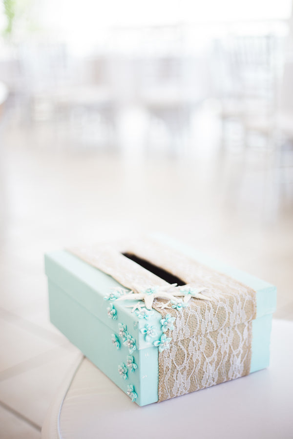 Wedding Card Box | Kennedy Grace Photography | Tips for the Perfect Beach Wedding | Kate Aspen