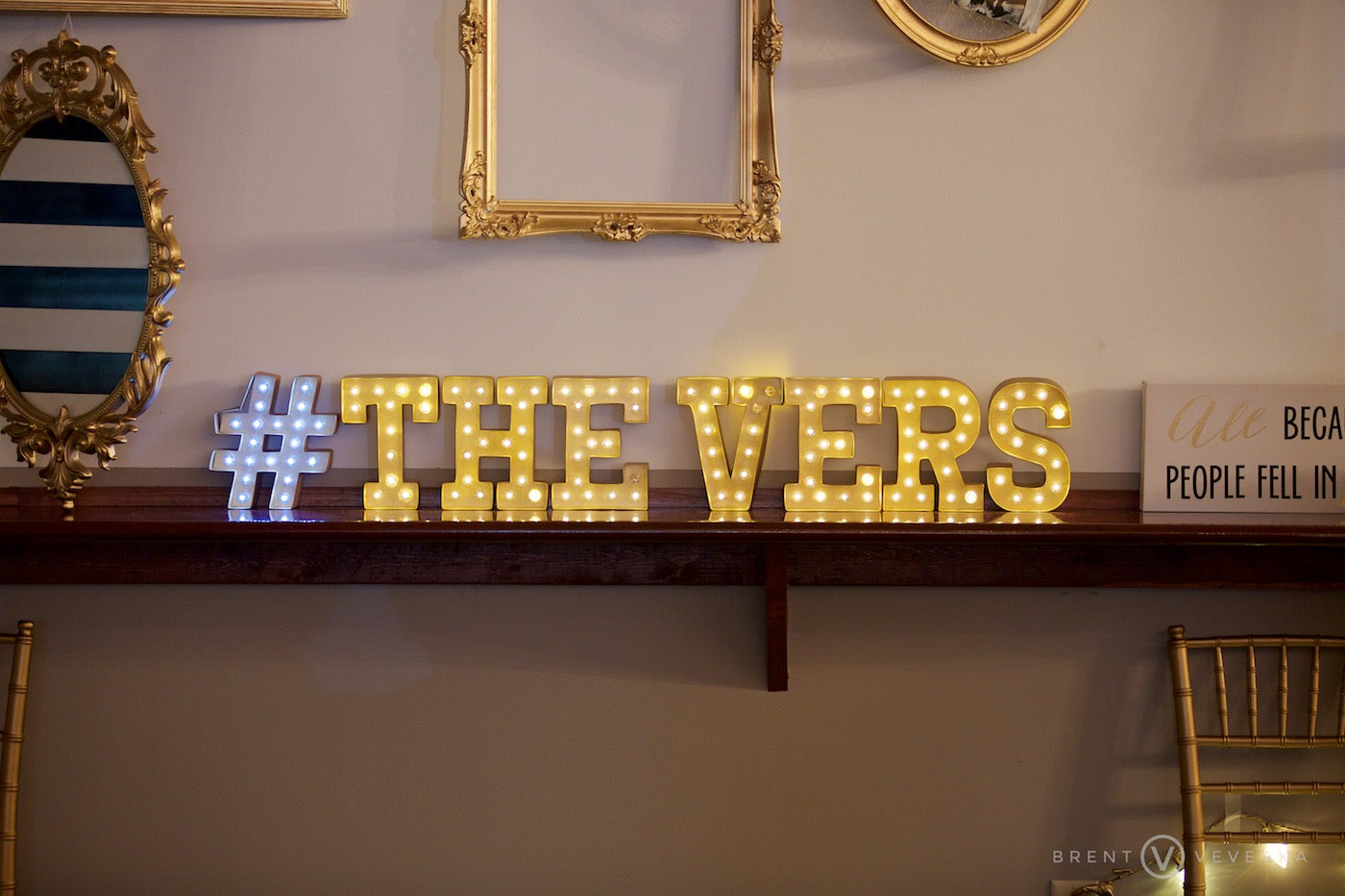 Wedding Hashtag Marquee | Glam Speakeasy Wedding | Brent Veverka Media