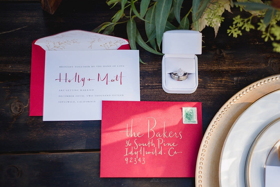 Wedding Invitations| Winter Winery Wedding | Amy Millard Creative Studio