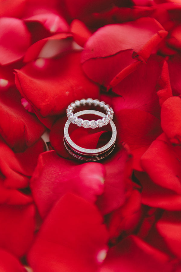 Wedding Rings on Rose Petals | Santorini Destination Wedding | Vasilis Lagios Photography