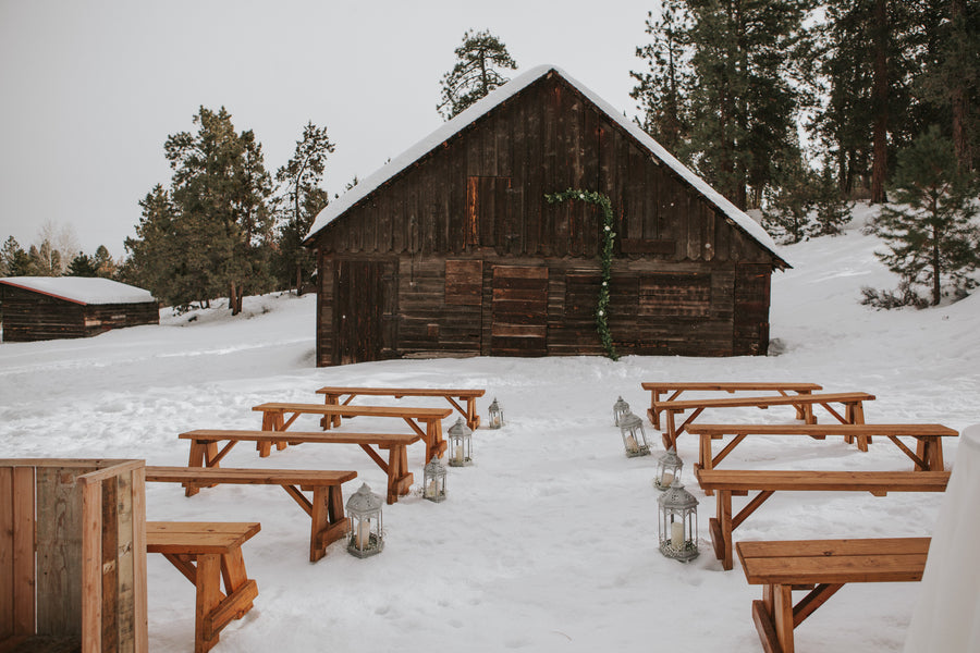 Wedding Venue In the Snow | A Snowy Outdoor Winter Wedding | Kate Aspen